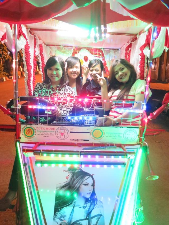 Self-drive disco carts at the Alun Alun