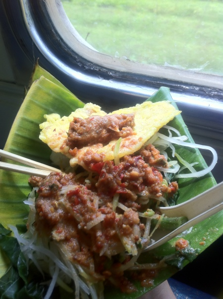 Pecel with tempe mendoan on the train on the way home from Yogya.
