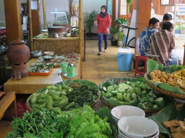 Lalap at the end of the buffet at Nasi Bancakan.