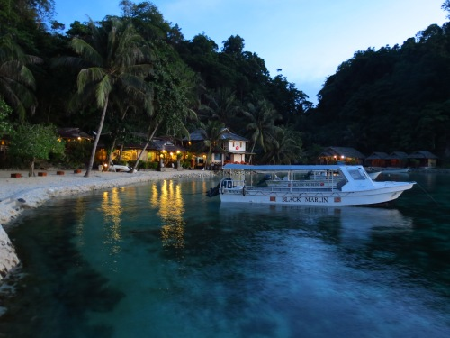Black Marlin Dive Resort at twilight.